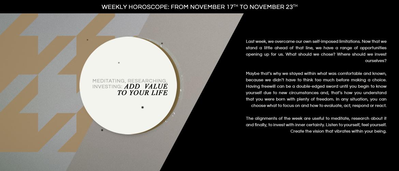 Weekly Horoscope: from november 17th to november 23 th